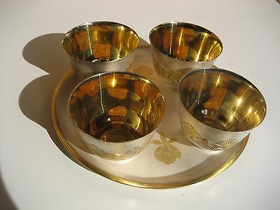 Rare Vintage Russian Silver Gilt Niello Vodka/Wine Cups and Tray Soviet USSR