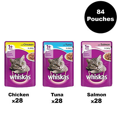 Whiskas 1+ Adult Cat Food Mixed Selection in Jelly 84 Pouches x100g Bulk Pack
