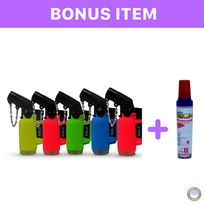 NEON 5 Pack 45 Degree Eagle Jet Flame Butane Torch Lighter & bonus lighter