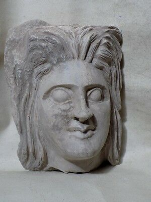 Ancient Large Stone Head Sculpture Relief Fragment