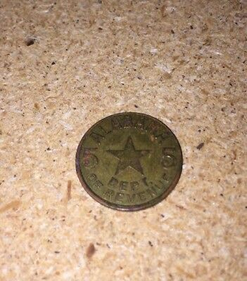 Vintage Alabama Department Of Revenue Sales Tax Token Coin 5 Mill