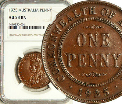 Ngc Au-53 Australia 1 Penny 1925 (Key Date) Scarce And Sought After!
