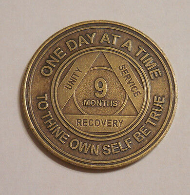 aa alcoholics anonymous bronze 9 month recovery sobriety coin token medallion