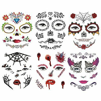 Day of the Dead Temporary Halloween Eye and Face Tattoos (Assorted Designs)