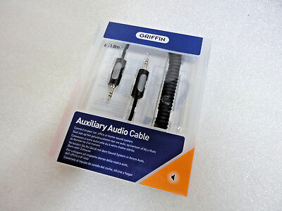 GRIFFIN AUX COILED AUXILIARY AUDIO CABLE 6FT 3.5mm