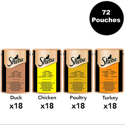 Sheba Adult Cat Pouches Poultry Collection in Jelly 72 x 85g Luxury Cat Food