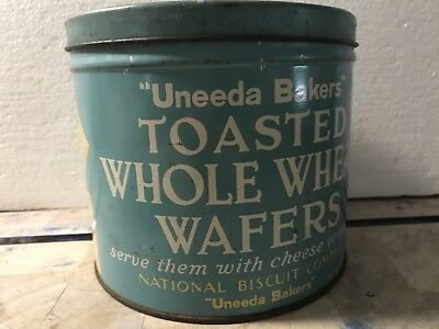 Vintage Unread Bakers Toasted Whole Wheat Wafers Tin