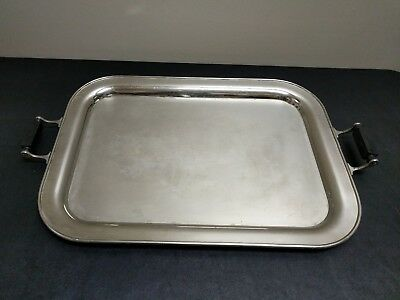 Antique Landers Frary & Clark Universal Silverplate Serving Tray w/ Wood Handles
