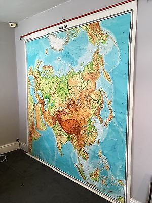 Westermann vintage School Map Of Asia Outstanding Condition Retro 1970s