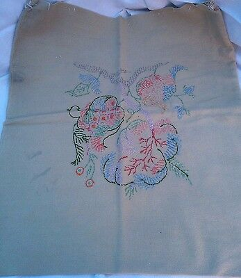 Vintage unfinished cushion cover hand stitching Linnen