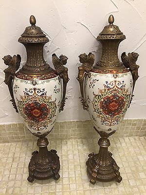 Bronze and Glazzed Painted Decorative Ceramic Vase Urns with Bronze Lids