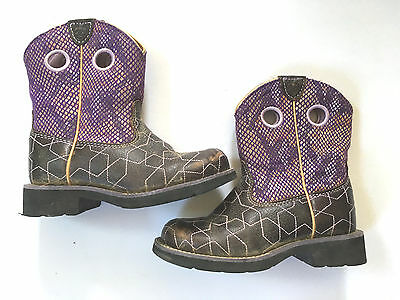 Excellent ARIAT Girls/Youth Fatbaby Purple Brown Star Boot Sz.12