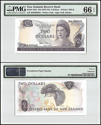 New Zealand 2 Dollars, ND 1977-1981, P-164d, QEII, Cook, PMG 66