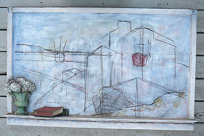 Lidya Buzio, Mixed Media on Wood Panel . Boat, Landscape, c.2001 GreenPort NY