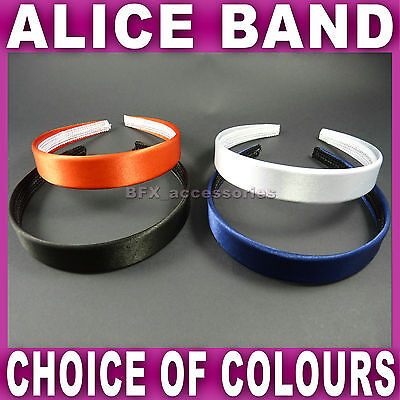Satin ALICE BAND 2.4 cm WIDE headband fabric head hair band aliceband 4 colours