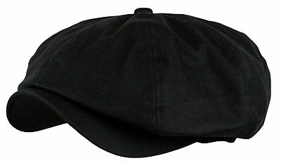 cc9c8b48935f87 Classic and Vintage Mens Linen 8 Panel Applejack Gatsby Newsboy Ivy Hat  Black