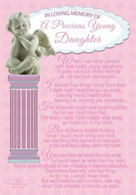 Graveside  Card FOR A PRECIOUS YOUNG DAUGHTER Memory Grave Poem Funeral Memorial
