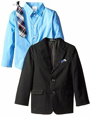 Nautica 3pc Little Boys Black Herringbone Suit Set Jacket Shirt + Tie NWT size 5