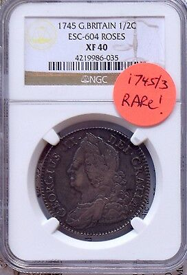 "Great Britain 1745/3 Half Crown ""no Lima With Roses""-Ngc Xf40-Rare: Km $1425 Xf"