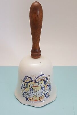 1988 Original Artmark Porcelain Bell with Wooden Handle