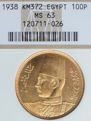 Egypt 100 Piastres 1938 Gold Ngc Ms63 Old Holder Fully Prooflike Under Graded
