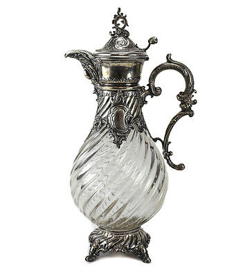 Bruckmann & Sohne German 800 Silver Mounted & Glass Claret Jug Ewer, c.1910