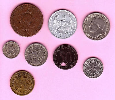 c281 | Eight collectible foreign coins of the 1920s, mostly Europe (4 German)