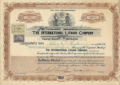 NEW JERSEY 1901, International Lithoid Company Stock Certificate #51 Clementon