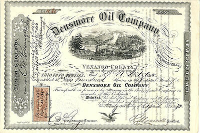PENNSYLVANIA 1872, Densmore Oil Co Stock Certificate, Venango County