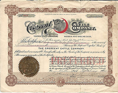 COLORADO The Crescent Cattle Co Stock Certificate 1912