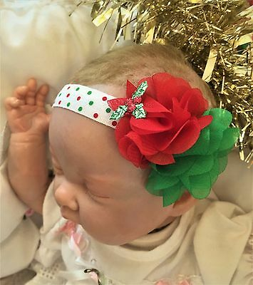 Baby Girl Christmas Headband with Green Red Chiffon Flower and Holly