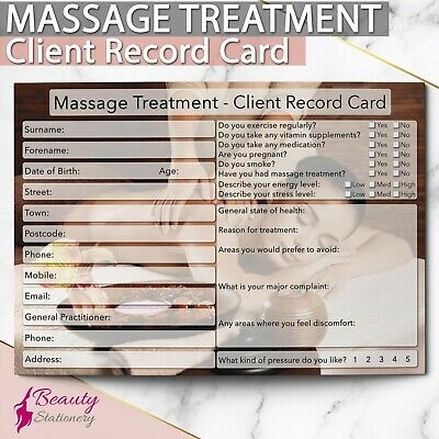 Massage Client Record Card NEW - PREMIUM Treatment Consultation Beauty Salons A6