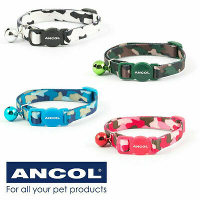 Cat / Kitten Collar Ancol Safety Buckle & Warning Bell Luxury Camouflage Collar