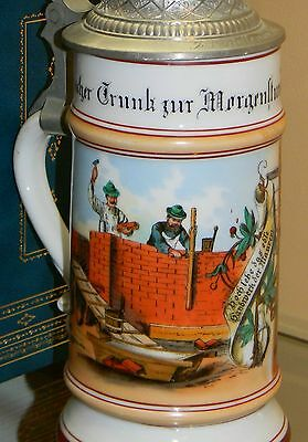 'Mason / Bricklayer  '  Occupational Stein with Lithophane, Mettlach Era ...
