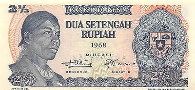 Indonesia  2 1/2 Rupiah  1968  Series ADH  Uncirculated Banknote A30S