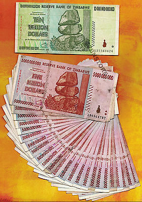 10 Trillion Zimbabwe Dollars + 25 x 5 Billion Banknotes AA AB 2008 Currency Lot