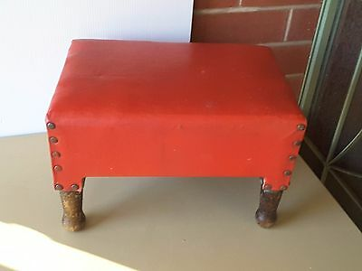 wooden FOOT STOOL COUNTRY VINTAGE RED VINYL