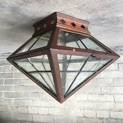 Vtg Copper Flush Mount Porch Ceiling Light Fixture Leaded Glass Shade Craftsman