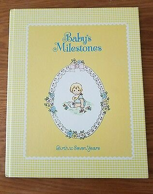 Vintage style baby book Baby milestones birth to 7 years yellow neutral