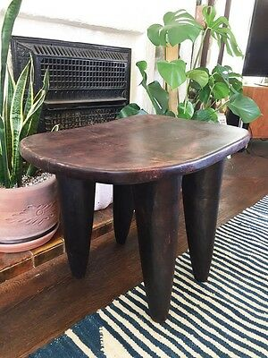 RARE Large Handmade Senufo African Wood Stool / Side Table 17 x 23 inches