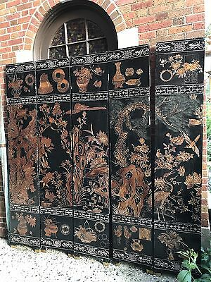 Chinese Black Lacquer Antique 5 Panel Screen