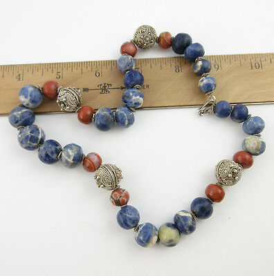 Vintage Chinese Sodalite Agate and Silver Bead Necklace
