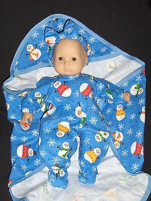 SALE  Snowman Sleeper Doll Clothes Handmade To Fit American Girl Bitty Baby