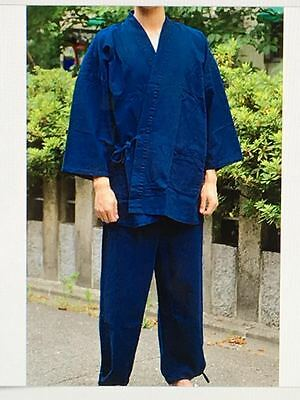 Japanese SAMUE Traditional Work Kimono Denim Wear Jacket&Pants Blue - M or L