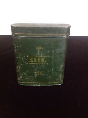 ANTIQUE 19th Cent. Tin Document Canister Box Dated 1810 Toleware