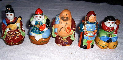 5 Vtg Antique Oriental Asian Satsuma Figurines  Signed