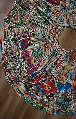 Women's Vintage Mexican Circle Skirt Hand Painted Dancers and Cactus Sequins