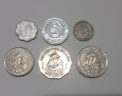 East Caribbean set of 6 different coins dollars & cents