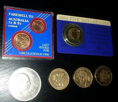 Assorted Coins & Tokens. 1994 bimetal $5 coin, Farewell 1c & 2c cased, UK Crown