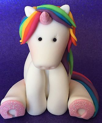 *** Edible 3D Rainbow Unicorn Cake Toppers BIRTHDAY CUPCAKES DECORATIONS ***